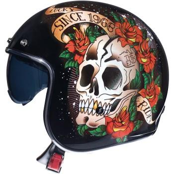 Casco MT LE MANS 2 SV Skull & Roses A1 Brillo Rojo